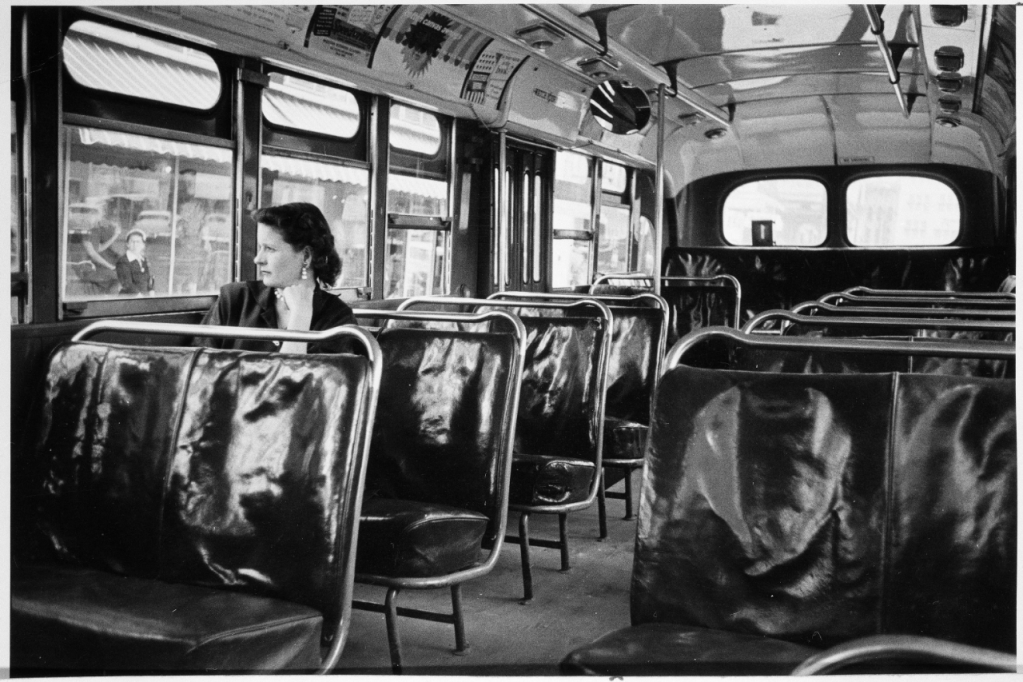 Photograph of an empty bus during the Montgomery Bus Boycott.